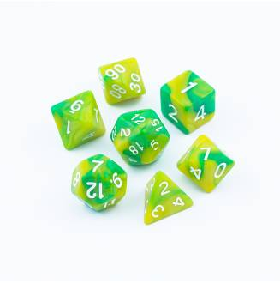 Zestaw Kości - Dwukolorowe - Neonowa Limonka